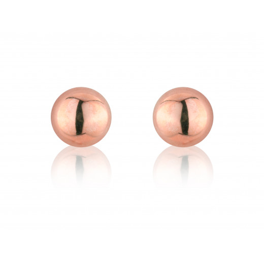 9ct Rose Gold Half Bead Stud Earrings