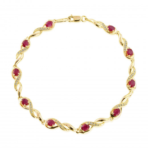 bracelet ruby burmese gold made yellow in