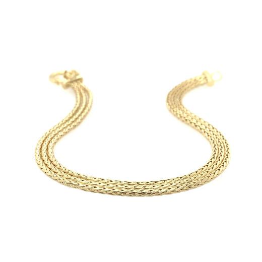 9ct Yellow Gold Three Row Spiga Bracelet