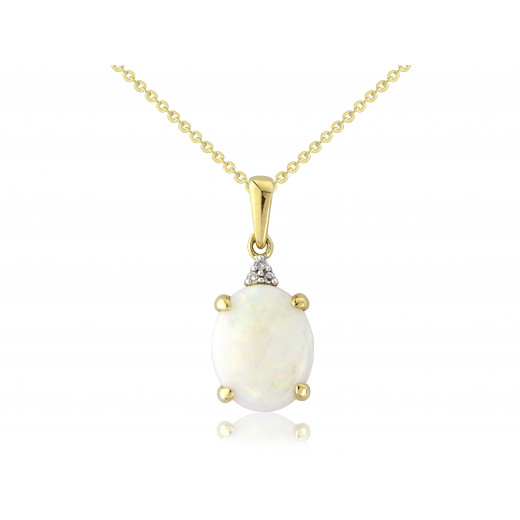 9ct Yellow Gold Diamond & Opal Oval Pendant Necklace