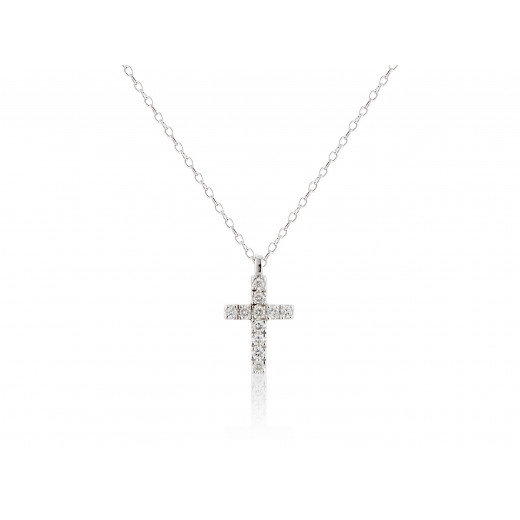 9ct White Gold Diamond Cross Pendant Necklace