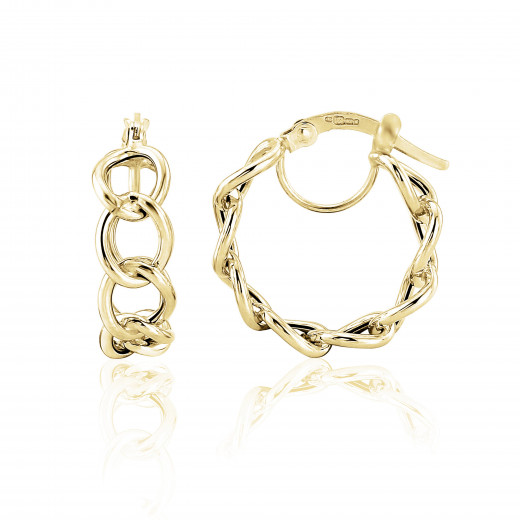 9ct Yellow Gold Curb Link Hoop Earrings