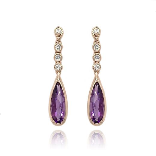 9ct Rose Gold Diamond & Amethyst Earrings