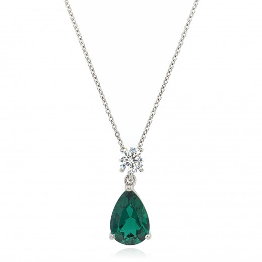 9ct White Gold Cubic Zirconia & Created Emerald Pendant Necklace
