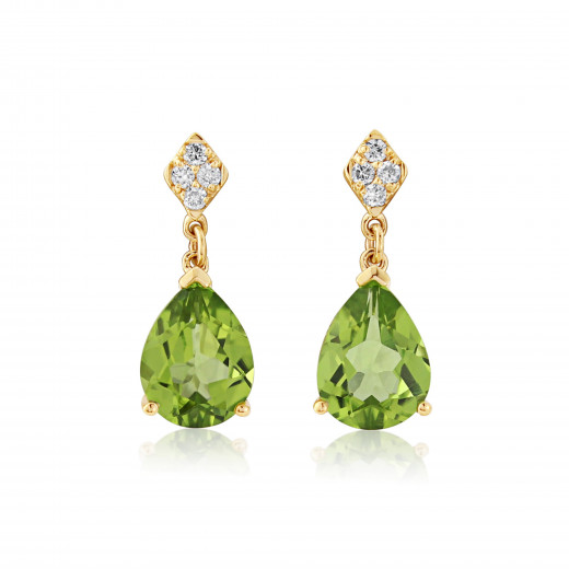 9ct Yellow Gold Diamond And Peridot Earrings