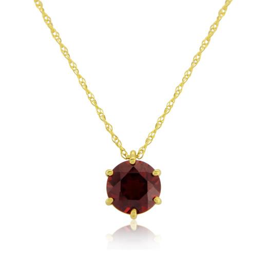 9ct Yellow Gold Garnet Pendant Necklace