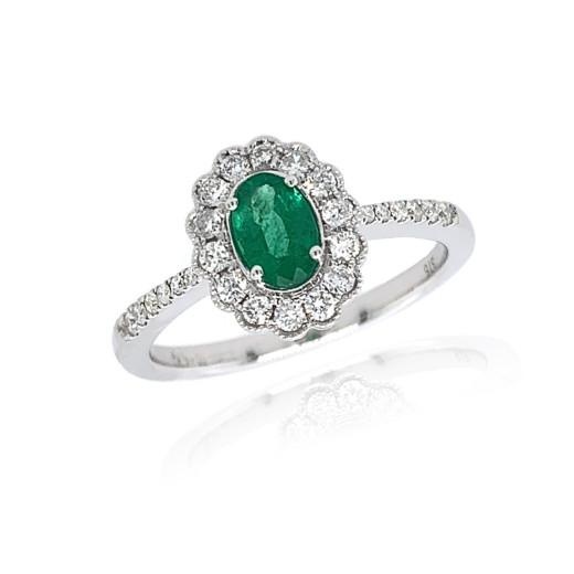 9ct White Gold Diamond Oval Scallop Emerald Ring