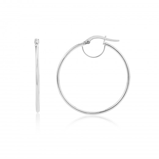 9ct White Gold Small Plain Hoop Earrings