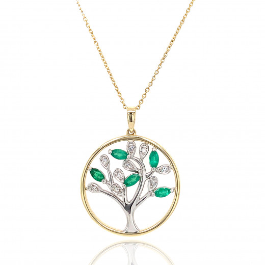 9ct Yellow and White Gold Diamond with Emeralds Tree of Life Pendant Necklace