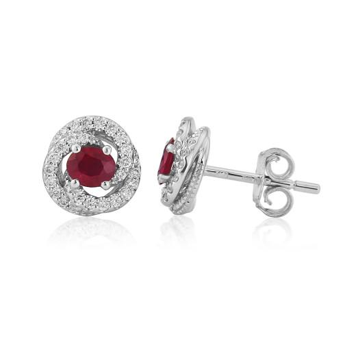 18ct White Gold Ruby & Diamond Fleur Earrings