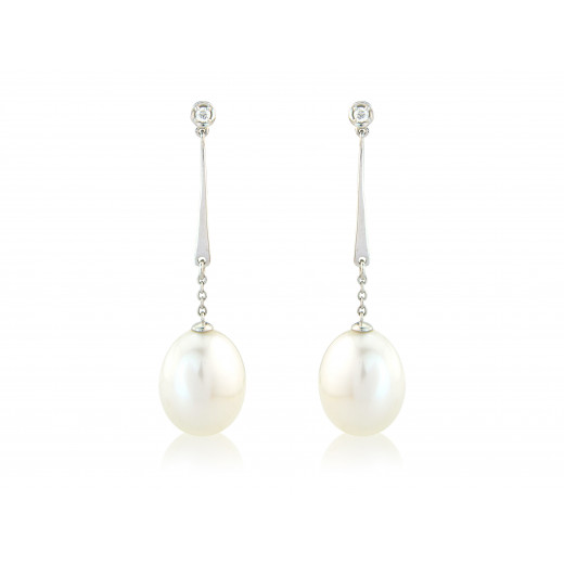 9ct White Gold Diamond & Pearl Drop Earrings