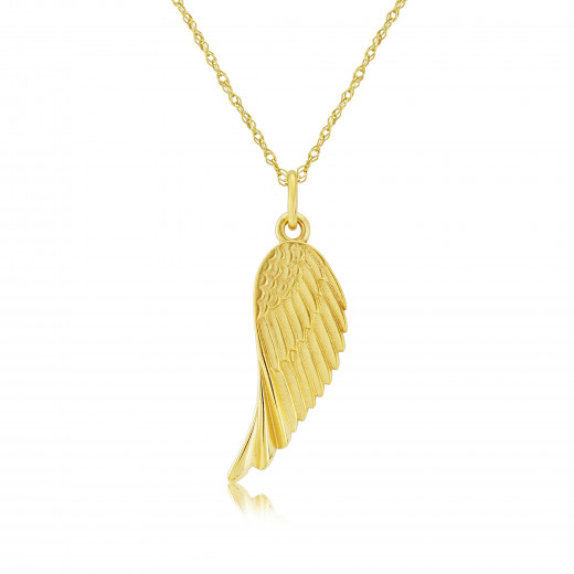 9ct Yellow Gold Angels Wing Charm Pendant Necklace