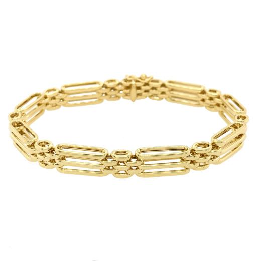 9ct Yellow Gold Three Bar Gate Bracelet