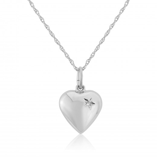 9ct White Gold Diamond Puff Heart Pendant Necklace