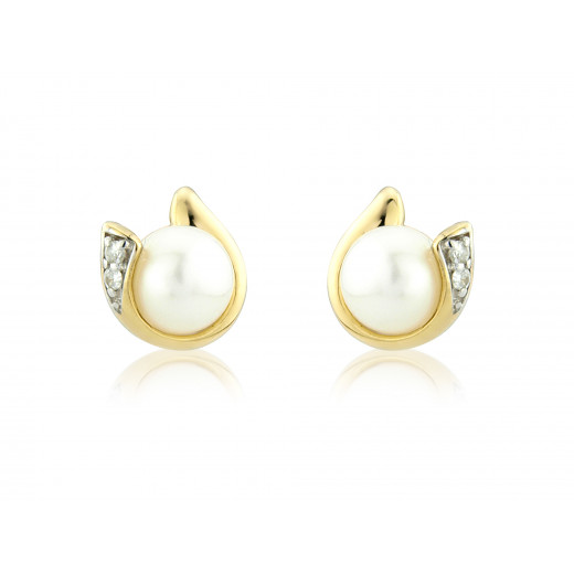 9ct Yellow Gold Pearl & Diamond Curl Earrings