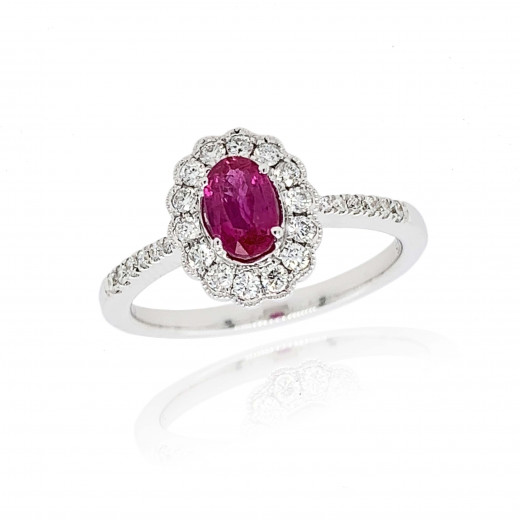 9ct White Gold Diamond Oval Scallop Ruby Ring