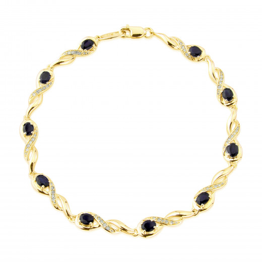 9ct Yellow Gold Diamond Oval Sapphire Bracelet