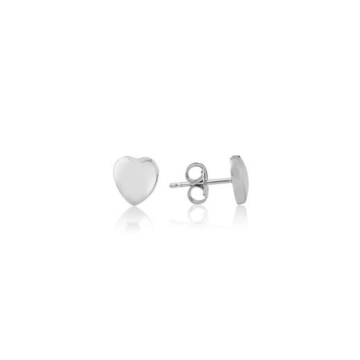 9ct White Gold Heart Stud Earrings