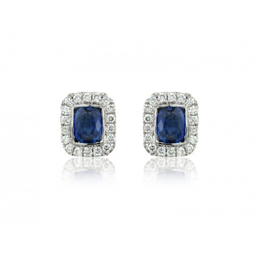 18ct White Gold Sapphire & Diamond Earrings