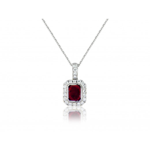 18ct White Gold Ruby Diamond Surround Pendant Necklace