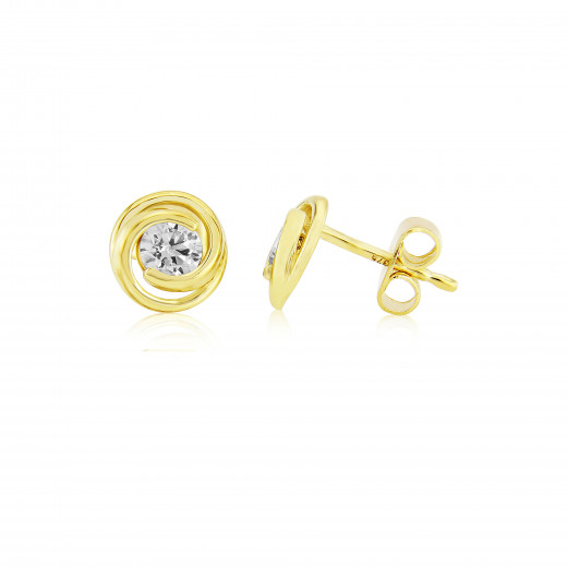 9ct Yellow Gold Cubic Zirconia Swirl Earrings