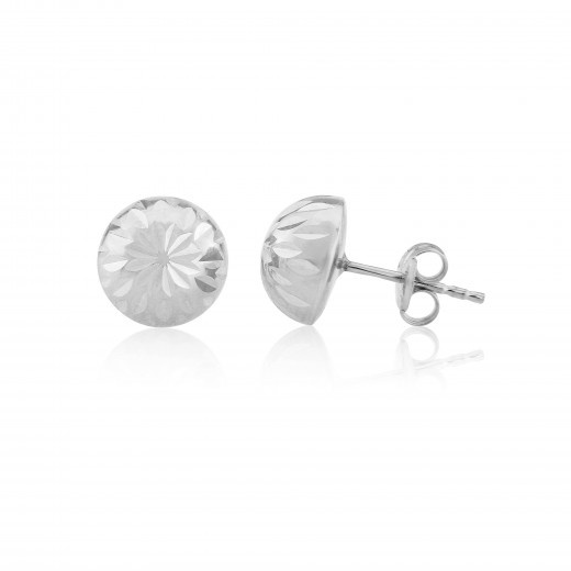 9ct White Gold Diamond Cut Half Ball Stud Earrings