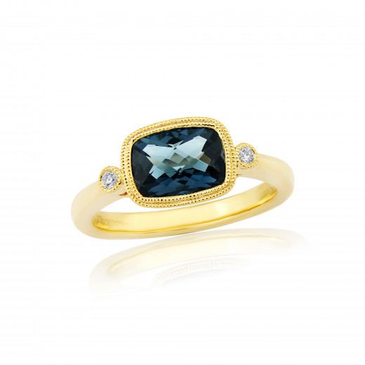 9ct Yellow Gold Diamond & Blue Topaz Ring