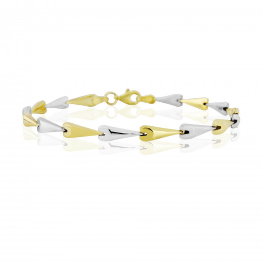 9ct Yellow & White Gold  Fancy Link Bracelet
