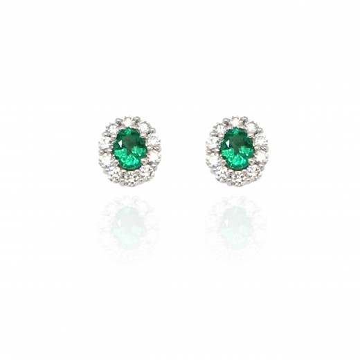 18ct White Gold Diamond and Emerald Cluster Earrings