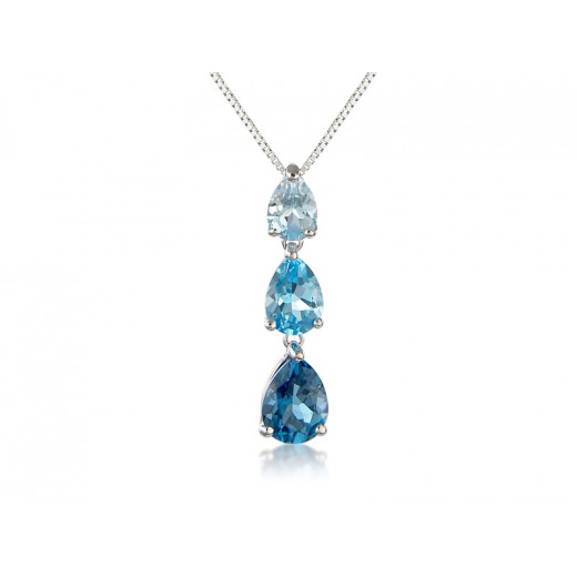 9ct White Gold Blue Topaz Pendant Necklace