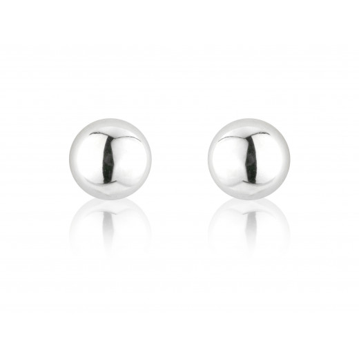 9ct White Gold Half Bead Stud Earrings