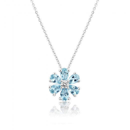 9ct White Gold Diamond & Aquamarine Flower Pendant Necklace