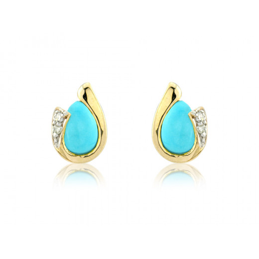 9ct Yellow Gold Turquoise & Diamond Curl Earrings