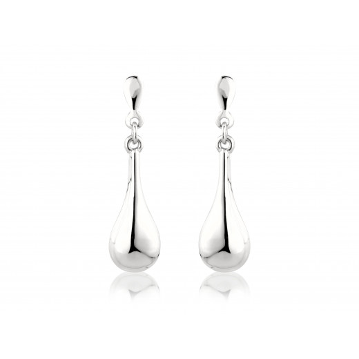 9ct White Gold Drop Earrings