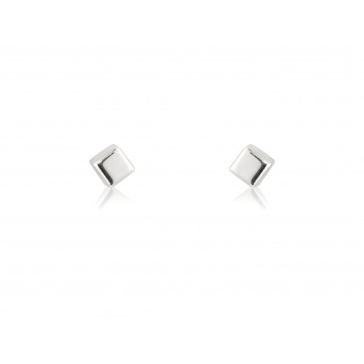 9ct Small White Gold Cube Stud Earrings