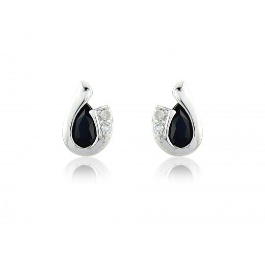 9ct White Gold Sapphire & Diamond Curl Earrings