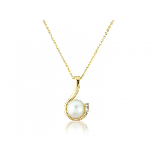 9ct Yellow Gold Pearl & Diamond Curl Pendant Necklace