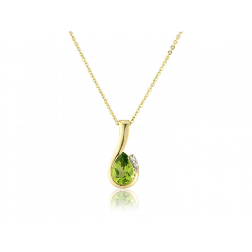 9ct Yellow Gold Peridot & Diamond Curl Pendant Necklace