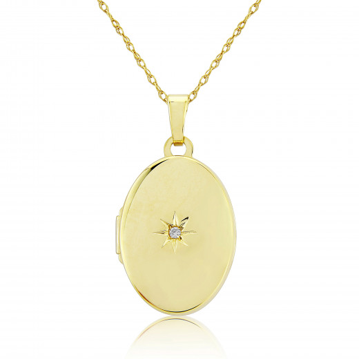9ct Yellow Gold Diamond Oval Locket Necklace