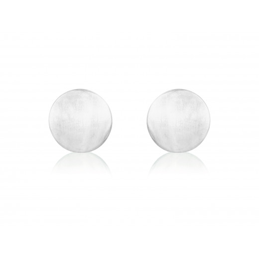 9ct White Gold Round Stud Earrings