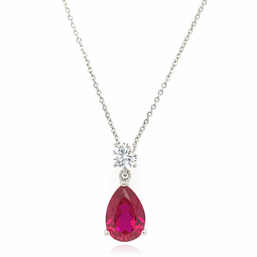 9ct White Cubic Zirconia with Created Pear Cut Ruby Pendant Neckalce