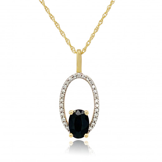 9ct Yellow Gold Diamond & Sapphire Halo Pendant Necklace