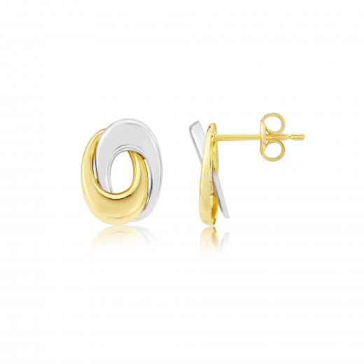 9ct Yellow and White Gold Swirl Earrings