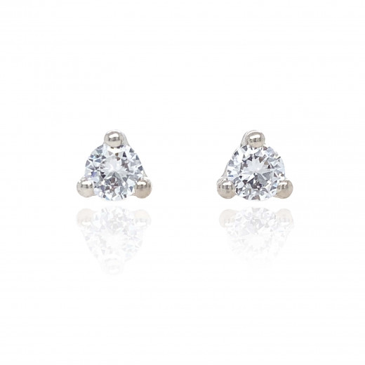 9ct White Gold Cubic Zirconia Trilliant Earrings