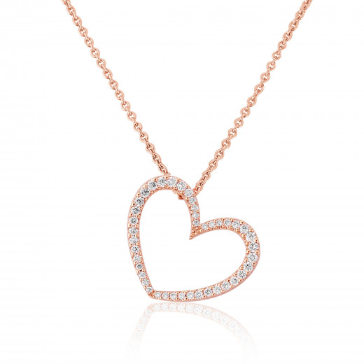 18ct Rose Gold Diamond Heart Pendant Necklace