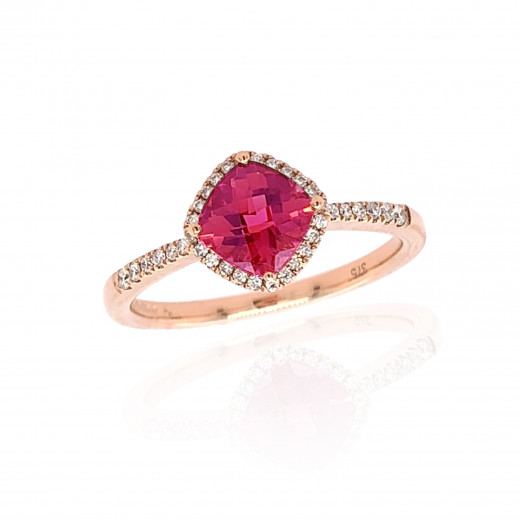 9ct Rose Gold Diamond & Pink Tourmaline Ring