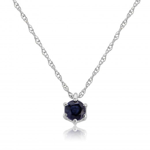 9ct White Gold Sapphire Pendant Necklace