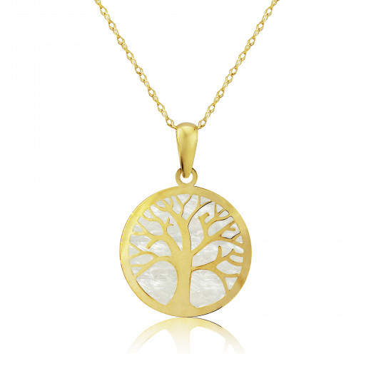 9ct Yellow Gold Mother Of Pearl Tree Of Life Pendant Necklace