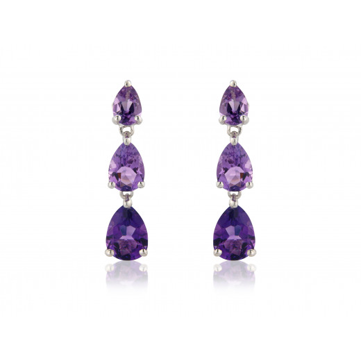 9ct White Gold Pear Amethyst Drop Earrings