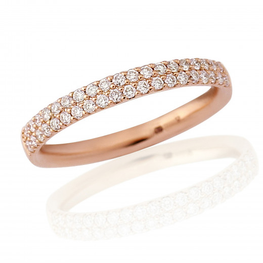 18ct Rose Gold Diamond Double Pavee Ring